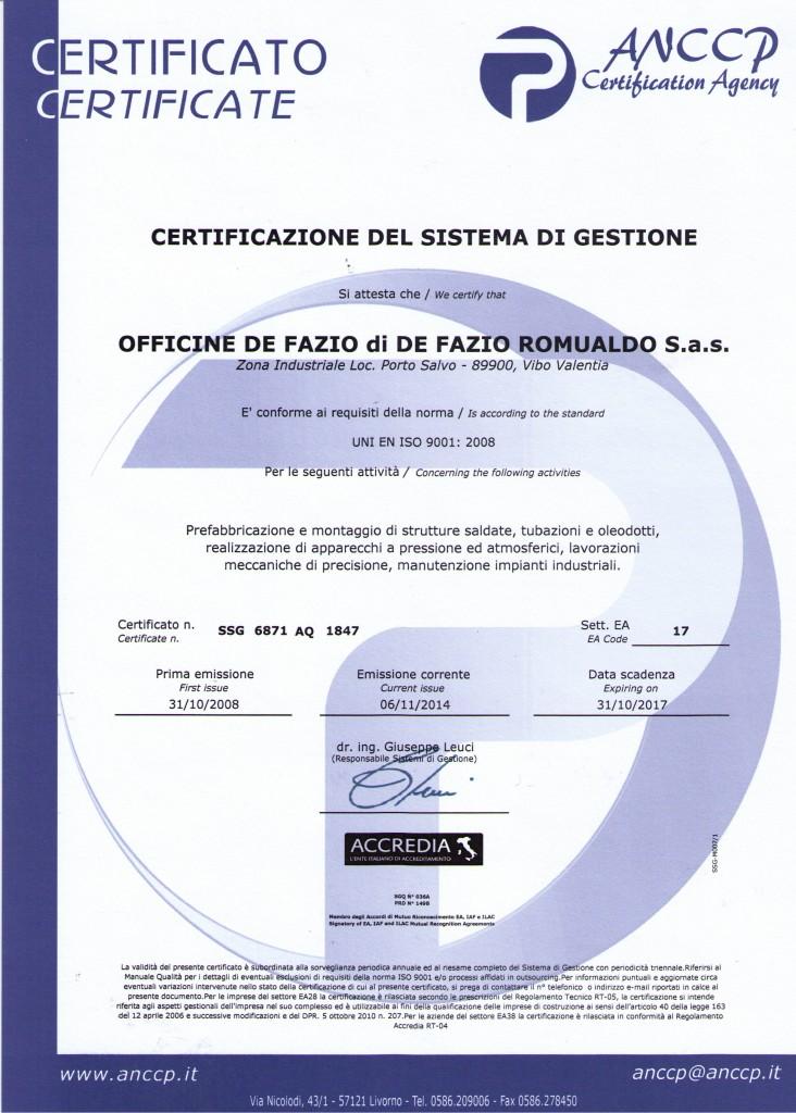 Certificato 2015-2017
